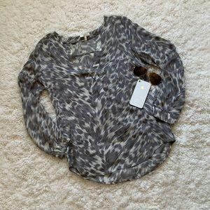 Joie Silk Animal Print Pullover Silk Blouse